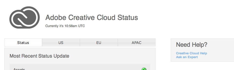 Screenshot of the Adobe Creative Cloud status page.