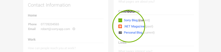 Screenshot showing the Google+ contributor too section.