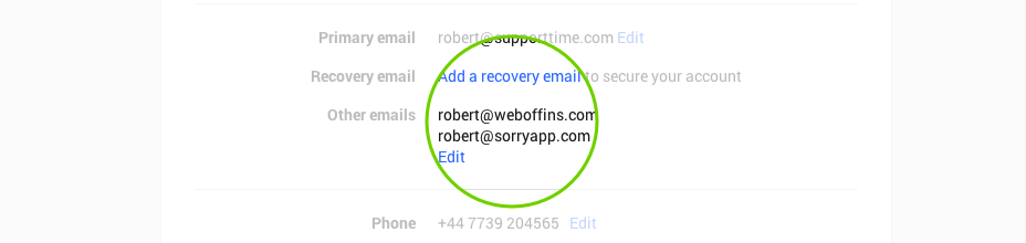 Screenshot showing the Google+ email verification process.