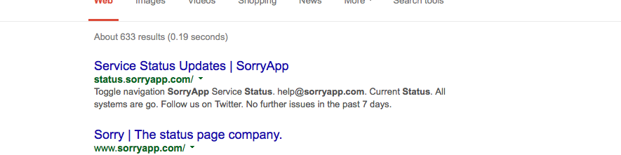 Screenshot showing the Sorry™ Status Page in the Google results.