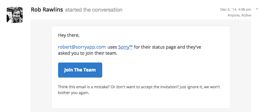 Screenshot showing the team invite email which will be received by your team members.